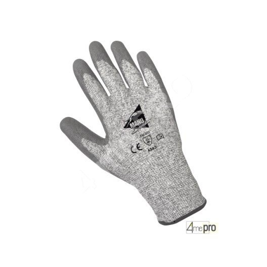 Guantes anticorte revestimiento poliuretano gris - soporte HPPE gris - Norma EN 388 4543