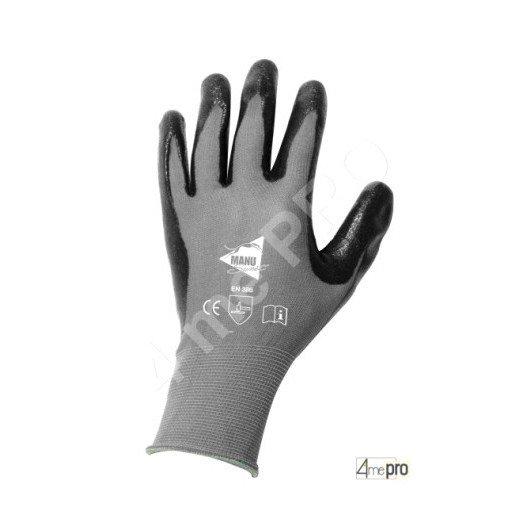 Guantes de manutención - nitrilo gris en soporte nylon negro - Norma EN 388 3121