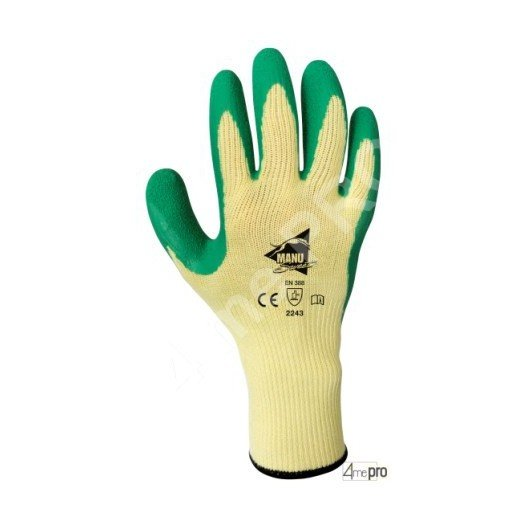 Guantes de manutención - látex verde en soporte polialgodón amarillo - Norma EN 388 2243