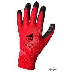 Guantes de manutención - látex negro en soporte polyester rouge - Norma EN 388 2131