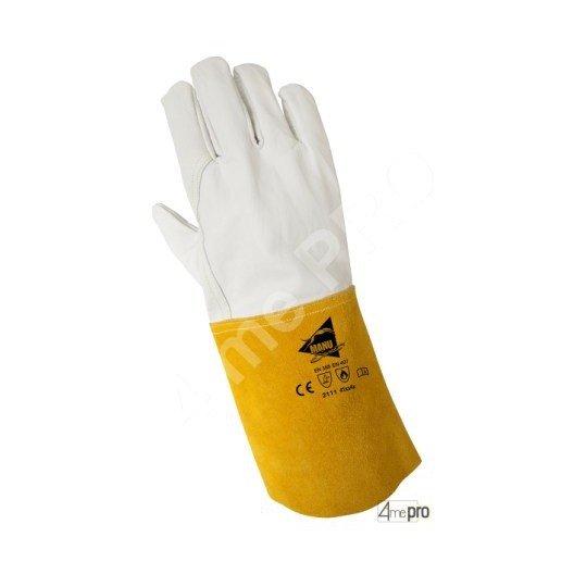 Guantes de soldadura resistentes al calor - cuero de cordero plena flor cosido kevlar - normas EN 388 2111 / EN 407 41xx4x