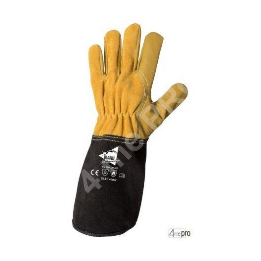 Guantes de soldadura TIG resistentes al calor - cuero de cabra cosido kevlar - normas EN 388 2121 / EN 407 41xx4x