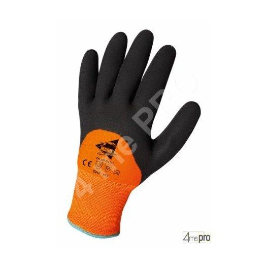 Guantes resistentes al frío interior muletón - látex en poliamida fluo dorso3/4 - normas EN 388 2243 / EN 511 x1x