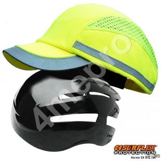 Gorra de seguridad Todas estaciones amarilla fosforito + tiras grises reflectantes NF EN812 A1