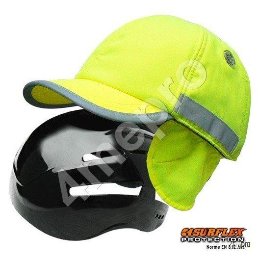 Gorra de seguridad Invierno amarilla fosforito + tiras grises reflectantes NF EN812 A1