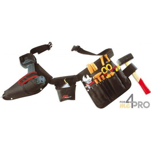Cinturón portaherramientas 15 bolsillos + porta atornilladora-taladradora