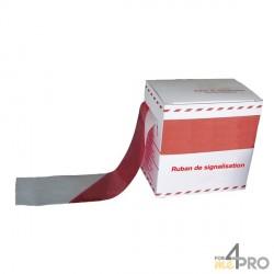 Cinta de señalización ultra robusta en caja dispensadora roja y blanca 200 m